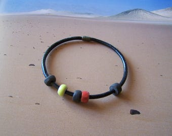 """Semi-rigid bracelet """"Earth and jewelry"""" sandstone beads and leather"""