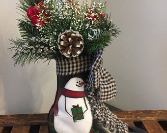 Hand Painted Snowman with packages on Vintage Skate