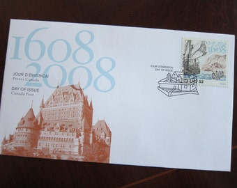 First Day Cover or Day of Issue Canadian Stamps, Kebec (Quebec), 1608-2008 - For Collage & other Multi-Media Projects