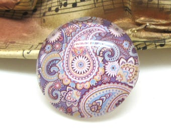 2 cabochons 20 mm Paisley Purple 1-20 mm clear glass
