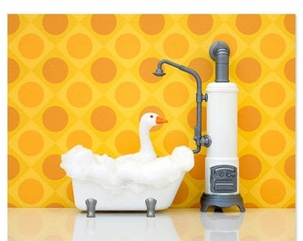 30% OFF SALE Bright bathroom animal art print: What's Good For The Goose