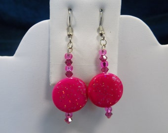 Colored Decoupage and Swarovski Crystal Earrings