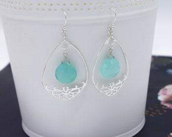 Sterling silver earrings, sterling silver gemstone earrings, aqua blue chalcedony earring, statement earring, drop earrings, dangle earrings
