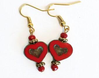 Heart Earrings,Beaded earrings for women,Red heart,Dangle, Free Shipping
