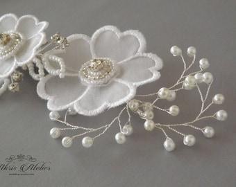 Bridal Headpieces, Flower Hair Clip, Rhinestone Pearl hairpiece, Wedding Hair Pieces, Bridal Hair pins, Wedding Hair Clips