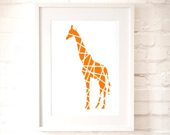 Orange Giraffe in Stripes Print- nusery art, modern giraffe, kids room, Nursery wall decor, animal illustration