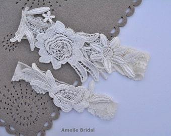 Ivory Bridal Garter, Ivory Garter Set, Bridal Garter Ivory, Lace Wedding Garter, Wedding Garter Set, Wedding Garter Ivory, Stretch Garters