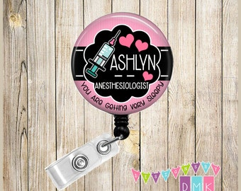 Anesthesiologist - Pink with Syringe - Personalized - Button Badge Reel - Retractable ID Holder Alligator or Slide Clip Name Tag Holder