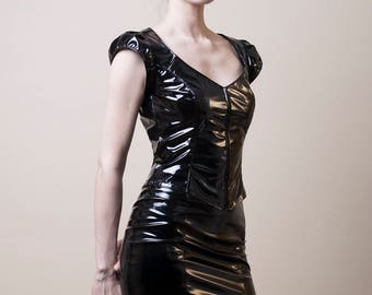 Black PVC Pencil Skirt with Peplum-Small (Sale)