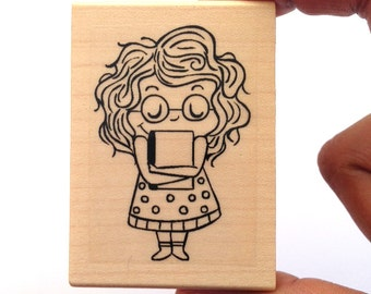 "Book Lover, Rubber Stamp, Stationary - ""Book Hug"""