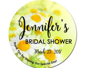 Personalized Bridal Shower Labels Summer Daisies Flowers Floral Yellow White Daisy Round Glossy Designer Stickers