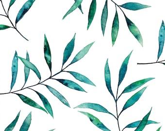 Postcard Blue Green Twigs, Illustrated Postcard, Watercolor