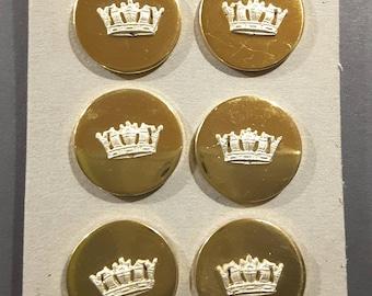 Set of 6 Brass crown buttons.
