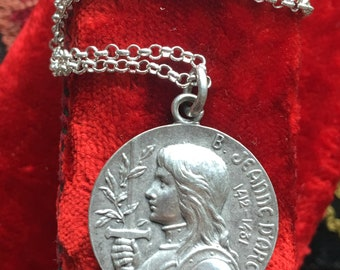 Saint Joan of Arc Medal Necklace Art Nouveau Antique French Religious Vintage Catholic Jewelry Gift Christian Jewelry First Communion