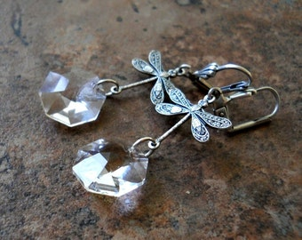 Silver Dragonfly and Swarovski Crystal Earrings, Exclusive Design by Only by Enchanted Lockets