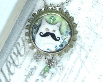 Moustache Necklace Cat Necklace Cat Lover Gift Moustache Cat Bottle Cap Necklace Cat Pendant Cat Gift