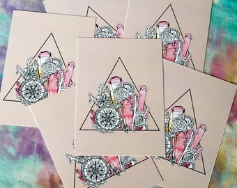 Crystal Cacti {Print} - Original Art, Poster, Wall Art, Painting, Hippie, Boho, Drawing