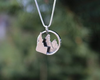 Hand-Crafted Sterling Silver Idaho Mountain Necklace