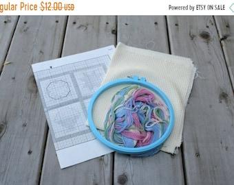 SALE SALE SALE Vintage Cross Stitch Kit Pastel Quilt Block Sampler Folk Art Americana