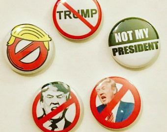 Anti Trump pin back button set