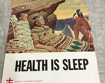 1964 Vintage Health is Sleep National Tuberculosis Association Poster