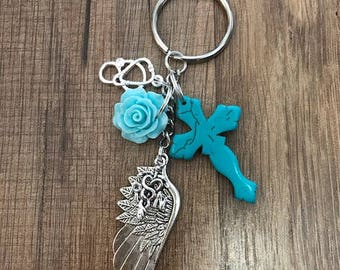 LPN, RN, or DH & Angel Wing, Rose, Cross, Stethoscope ~ Keychain