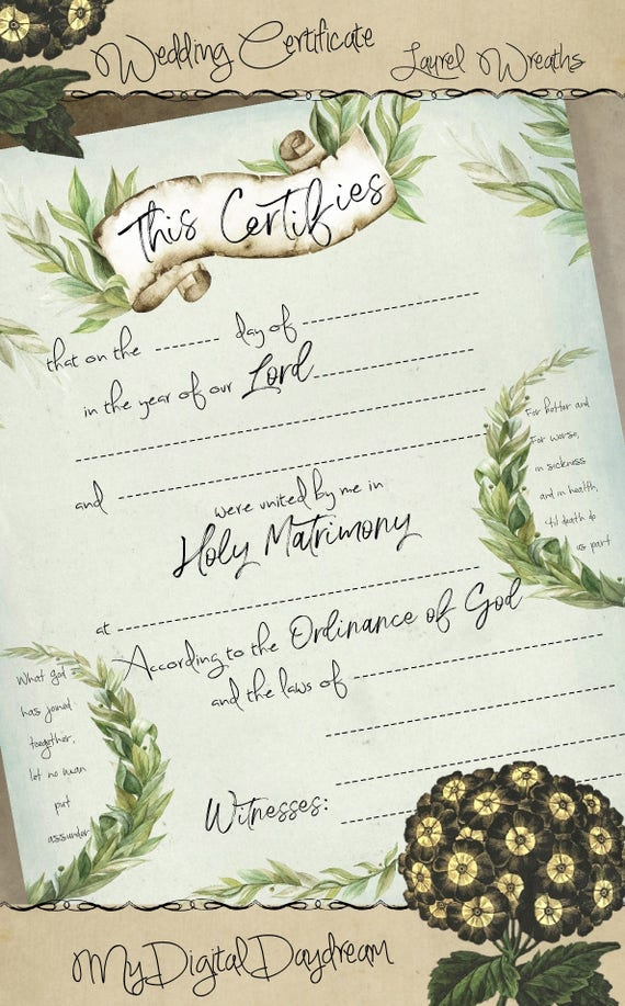 Druckbare Hochzeit Zertifikat Ehe Zertifikat sofortigen