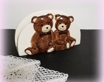 1950s Teddy Bear Napkin Holder - Glazed Ceramic - Vintage Napkin Holder - Teddy Bear Decor - Made in JAPAN