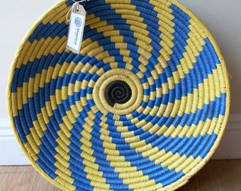 Moroccan Woven Plate - Blue / Yellow