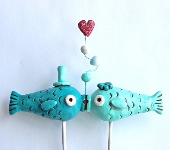 Kissing Fish Wedding Cake Topper