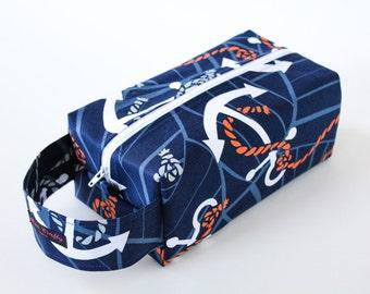 Zippered Knitting Crochet Project Box Bag - Anchors Aweigh - White  Zip