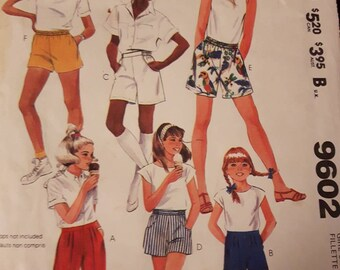 McCall's 9602, Girl's Shorts Sewing Pattern
