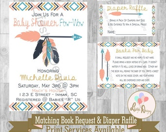 Tribal Baby Shower Invitiation - Feathers - Arrows Baby Shower - Bohemian Baby Shower Invite - Aztec Baby - Diaper Raffle - Its A Girl