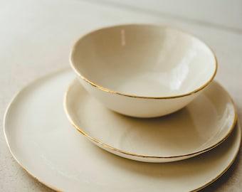 White Ceramic Dinnerware, Dinnerware Set Handmade, Pottery Wedding Set,  Pottery Salad Plate,