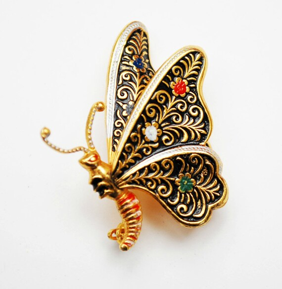 Damascene butterfly Brooch   Gold and Black enamel  figurine pin