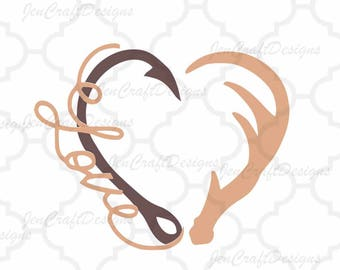 Love Interlocking Hook and Antler svg Heart Love Cutting File Set in Svg, eps, dxf and PNG Format for Cricut and Silhouette, Hunting Fishing