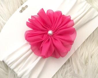 Wide fabric headband hot pink flower, fabric baby headband, large flower headband, girls wide fabric headband, pink flower headband