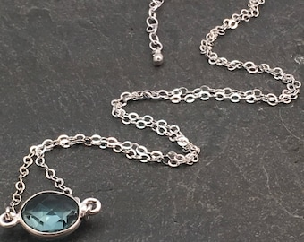 March birthstone necklace, blue quartz necklace, birthday gift, aquamarine color, sterling silver