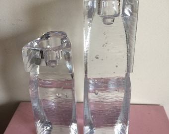 Kosta Boda Tall Glass Connect Candle Holders - Set of 2