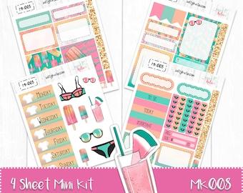 Planner Stickers - Mini Weekly Planner Sticker Kit - Poolside Sticker Kit - Erin Condren Planner Stickers - ECLP Stickers