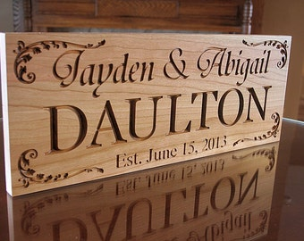 Personalized Last Name Wood Sign, Wood Established Sign, Carved Wooden Sign, Custom Date Sign, Benchmark Signs, Benchmark Signs, Cherry DD