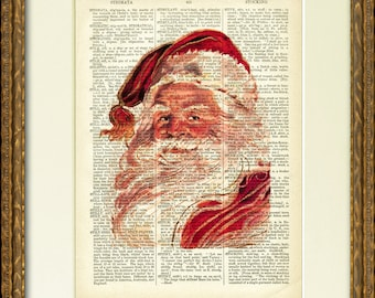 SANTA PORTRAIT Dictionary Page Print - an 1800's dictionary page with a vintage Santa Claus illustration - charming Christmas wall decor