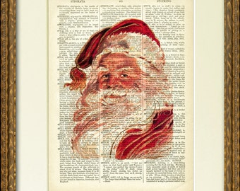 PORTRAIT de SANTA dictionnaire Page Print - une page de dictionnaire du 19e siècle avec une illustration de Santa Claus vintage - charmant décor mural de Noël