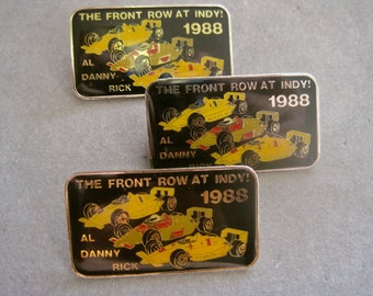 INDY 500 Pins 1988 The Front Row at Indy Al Unser Sr Danny Sullivan Rick Mears Black Enamel Rectangle LISTING for 1 / NOS New Old Stock