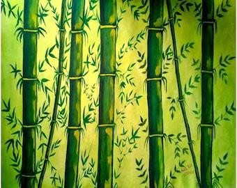 Bamboo Art Print, Matte Paper Poster, UNFRAMED Bamboo Painting, Zen Art, Chinese Art, Oriental Painting, Lime Green Painting, Fine Art Print