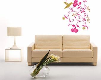 Wall decal Colibri, Colibri wall sticker, Floral wall sticker, Vinyl wall sticker, Wall stencil, Wall decoration