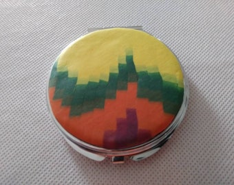 Polymer clay compact - purse mirror - hand made makeup mirror - uniquely made polymer clay compact mirror - southwestern the make up mirror