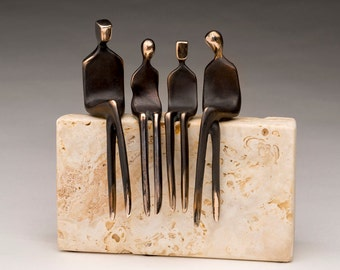 FAMILY OF FOUR >> bronze sculpture, family portrait, of husband, wife, son, and daughter.  Interchangeable!   By Yenny Cocq