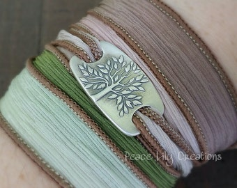 LATE SHIP Silk Ribbon Wrap Bracelet Tree of Life Fine Silver Yoga Bracelet Earthy Bracelet Eco Jewelry Boho Bracelet Hand Dyed Silk