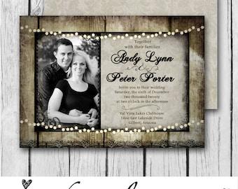 Rustic, Wood, Vintage, Frame, Lights, Picture-Wedding Invitation / Bridal Shower / Baby Shower / Birthday - Digital and Printable Invitation